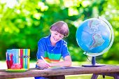 stock photo of school lunch  - Child in school yard - JPG