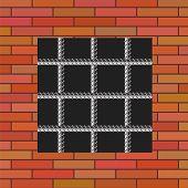 foto of jail  - Prison Window 0n Red Brick Wall - JPG