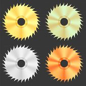 pic of sawing  - Circular Saw Discs Isolated on Dark Background - JPG