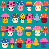 pic of face-fungus  - happy cute mushroom characters nature seamless pattern design - JPG