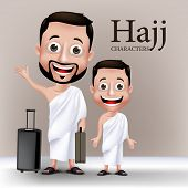 pic of muslim  - 3D Realistic Muslim Man and Kid Characters Wearing Ihram Clothes Traveling to Perform Hajj or Umrah with Traveling Bags - JPG