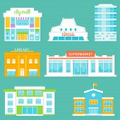 picture of school building  - Vector city buildings set includes mall - JPG