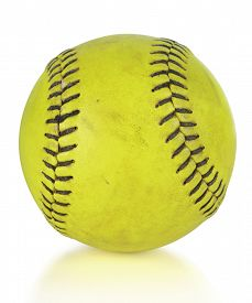 foto of softball  - Softball or baseball ball isolated on white background - JPG