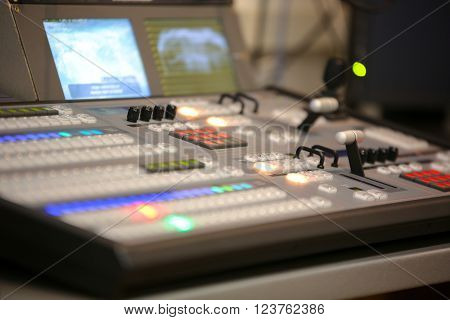 Tv Editor Working With Video And Audio Mixer