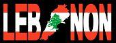 Lebanon text with map on lebanese flag illustration