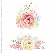 Decorative holiday ornaments of flowers ranunculus, leaves and branches, floral vector illustration  poster