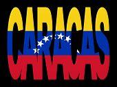 overlapping Caracas text with their flag illustration JPG