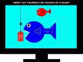 Television Screen Scam Concept