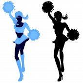 Illustrated silhouettes of a sexy cheerleade
