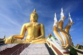 Big golden buddha with blue sky.