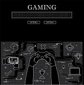 Line Drawing Of Concept Of Gaming Vector Graphic In Black And White poster