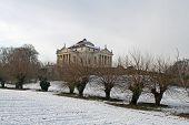 foto of palladium  - The Villa La Rotonda designed by Palladio in Italy in a snowy day of winter - JPG
