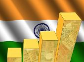 bar chart and rippled Indian flag with currency illustration