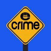 ADVERTENCIA e-crime con ilustración de señal portátil