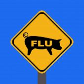 picture of swine flu  - warning swine flu sign on blue illustration - JPG