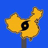China warning sign with typhoon symbol on blue illustration