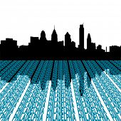 Philadelphia skyline with text foreground illustration
