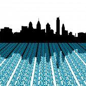 Philadelphia skyline with text foreground illustration