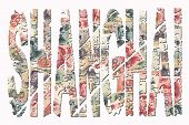 Shanghai grunge text with Chinese Renminbi illustration poster