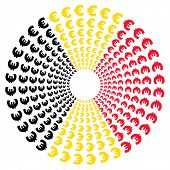 Concentric circles of euro symbols with Belgian flag illustration