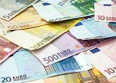 close-up view of euro banknotes