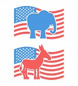 Постер, плакат: Donkey And Elephant Symbols Of Political Parties In America Usa Elections Democrats Against Republ