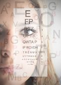 Woman's visage and ophthalmic table on the background