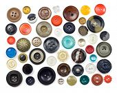 Collection of vintage sewing buttons isolated in white