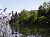 image of carthusian  - Viewof Hautecombe Abbey from the lake du Bourget, Aix les Bains, France-Carthusian monastery founded in 1285 -