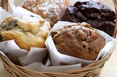 Sweet Muffins In Basket