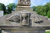 sandglass with wings at a cemetery
