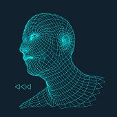 Постер, плакат: Head of the Person from a 3d Grid Human Head Wire Model Human Polygon Head Face Scanning View of