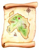picture of treasure map  - old map showing a treasure island - JPG