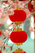 picture of customary  - chinese red lantern with colourful decoration in front - JPG