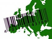 Green outline map of Europe with barcode poster
