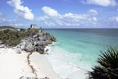 Ruins At Tulum With Beach