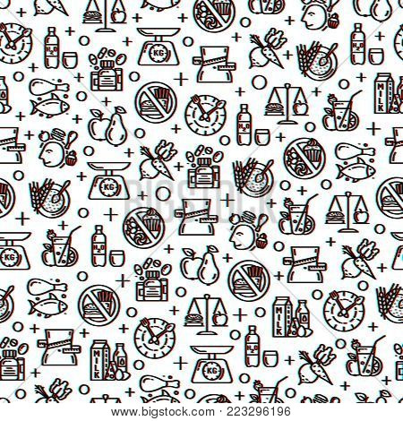 poster of Healthy diet icons seamless pattern with glitch effect, healthy dieting, rational nutrition icons, slimming loss weight, healthy lifestyle, balanced diet eating, organic food, vegetarian food, protein diet, healthy diet concept