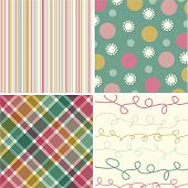 Vintage Pink Stripes 4 Pattern Combo (Vector)