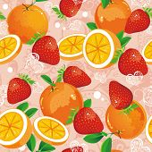 Abstract Seamless pattern with strawberry and oranges. Stylish ornamental vector illustration. Sweet