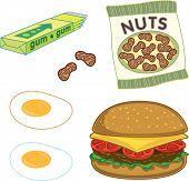 Burger, Peanuts, Chewing Gum And Sunny Side Up Eggs (Vector) - Cartoon Illustration