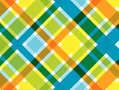 Retro Beach Blue Orange Plaid Pattern (Vector)