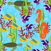 Постер, плакат: морской жизни бесшовные шаблон