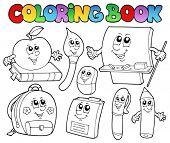 Coloring book school cartoons 5 - vector illustration.