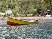 A lone fishing boat