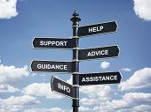 Help, support, advice, guidance, assistance and info crossroad signpost business concept poster