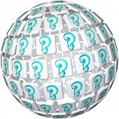 A sphere made up of tiles featuring question marks symbolizing a world of confusion or curiosity and