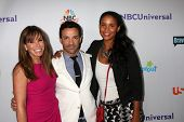 LOS ANGELES - AUG 1:  Melissa Rivers, George Kotsiopoulos, Joy Bryant arriving at the NBC TCA Summer