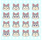 Emoticons, Emoji, Smiley Set, Colorful Sweet Kitty Little Cute Kawaii Anime Cartoon Dog, Puppy Diffe poster