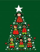 Cartoon Christmas Tree Kids (Vector)