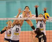 DEBRECEN, HUNGARY - JULY 9: Zsuzsanna Jozsa (in black 4) in action a CEV European League woman's vol